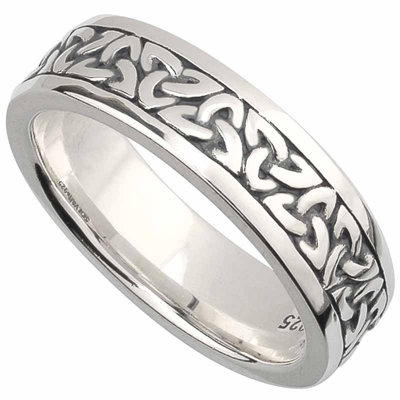 Sterling Silver Ladies Celtic Band Ring abqoN