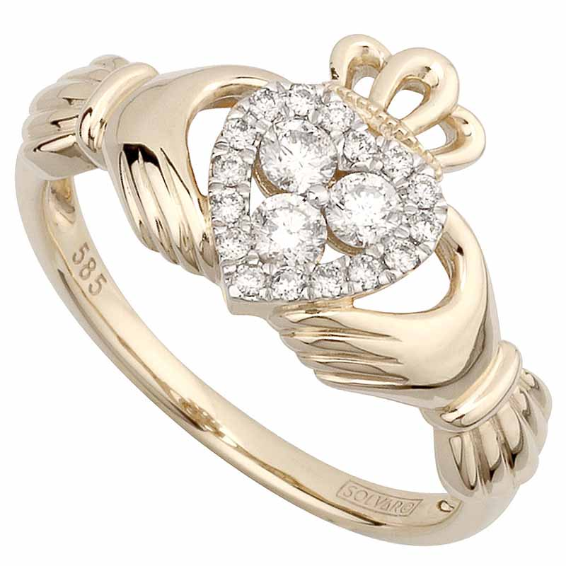 claddagh ring 14k yellow gold 3 diamond heart ladies. Black Bedroom Furniture Sets. Home Design Ideas