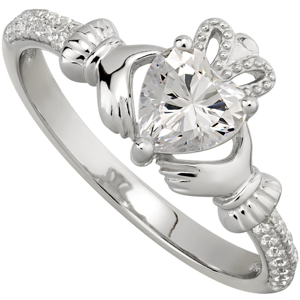 Irish Ladies Sterling Silver Crystal Birthstone Claddagh