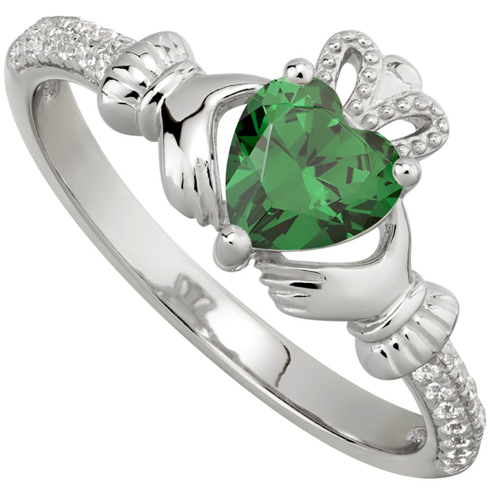 irish ladies sterling silver crystal birthstone claddagh. Black Bedroom Furniture Sets. Home Design Ideas