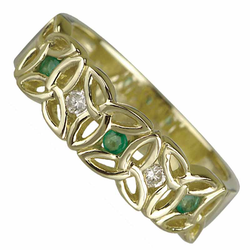 Trinity Knot Ring - Ladies 14k Gold Trinity Knot Diamond and Emerald Band