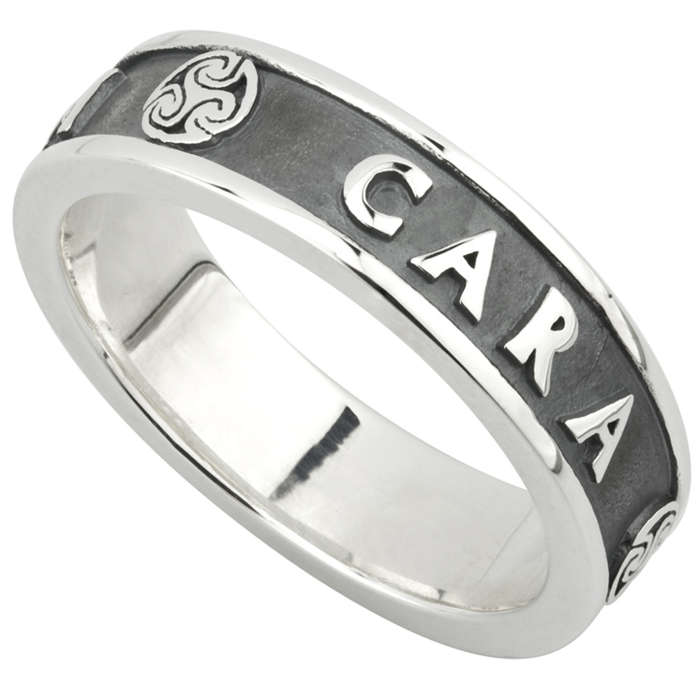 Irish Ring Ladies Oxidized Sterling Silver Mo Anam Cara