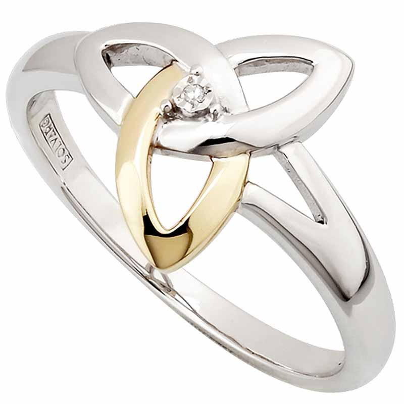 Celtic Ring - Silver, 10k Gold & Diamond Trinity Knot Ring