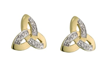 Celtic Earrings - 14k Two Tone Gold and Diamond Trinity Knot Earrings