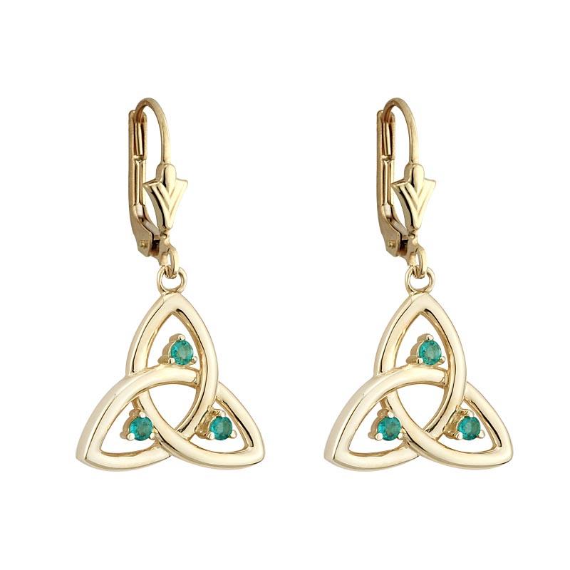 celtic earrings 10k gold emerald drop earrings