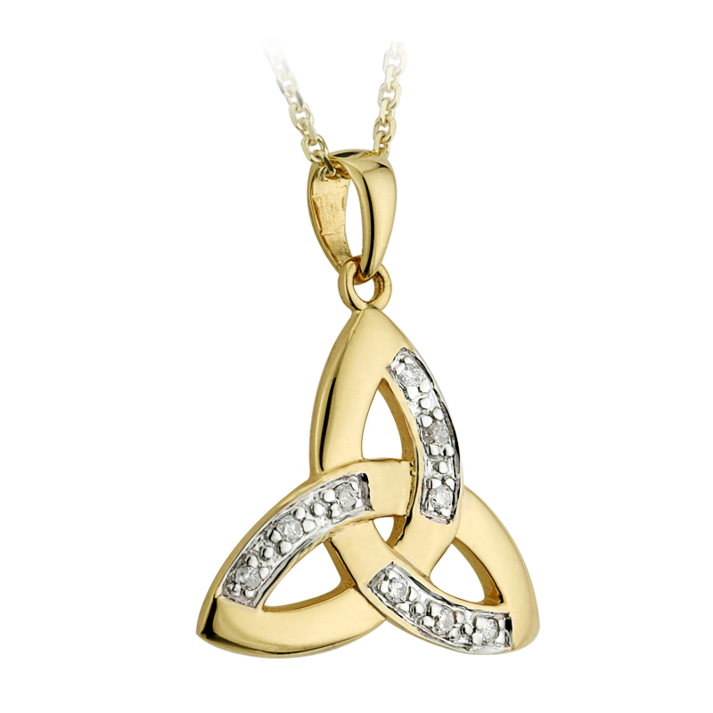 Celtic pendant 14k yellow gold and diamond trinity knot pendant celtic pendant 14k yellow gold and diamond trinity knot pendant with chain aloadofball Images