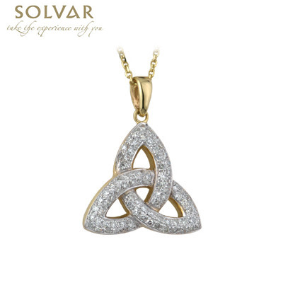 Celtic Pendant - 14k Yellow Gold and Micro Diamonds Trinity Knot Pendant with Chain