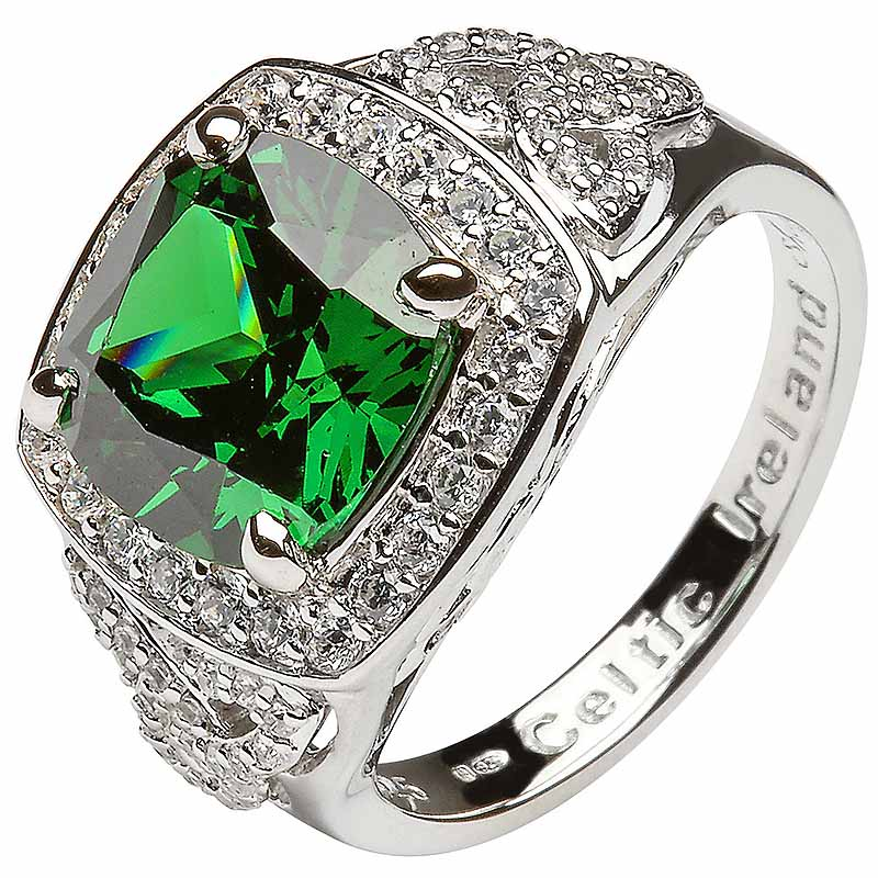 Irish Ring - Sterling Silver Green CZ Trinity Knot Halo Ring