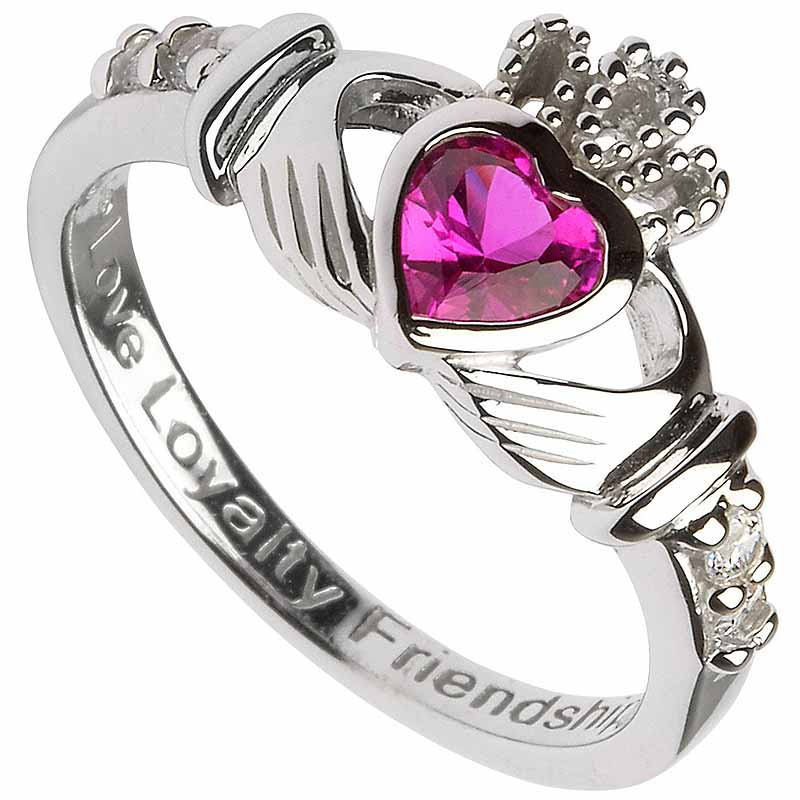 Claddagh Ring - Sterling Silver Birthstone Claddagh