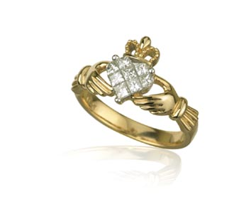 Claddagh Ring - Ladies 14k Gold and .5ct Diamond Claddagh