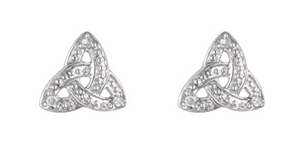 14k White Gold Diamond Trinity Knot Stud Earrings