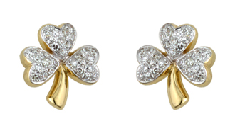 14k Gold and Micro Diamond Shamrock Earrings