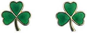 14k Yellow Gold and Green Enamel Shamrock Earrings