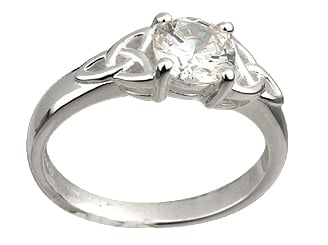 Trinity Knot Ring - Ladies Sterling Silver and Cubic Zirconia Trinity Knot