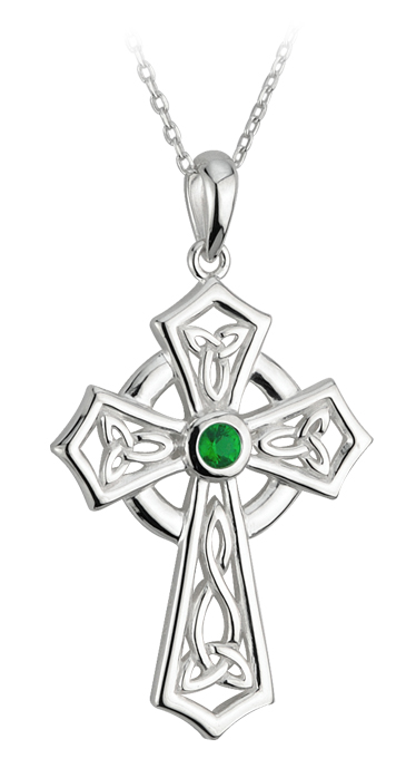 Celtic Pendant - Sterling Silver and Green Crystal Trinity Cross Pendant with Chain