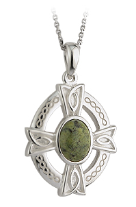 Celtic Pendant - Sterling Silver and Connemara Marble Celtic Shield Pendant with Chain