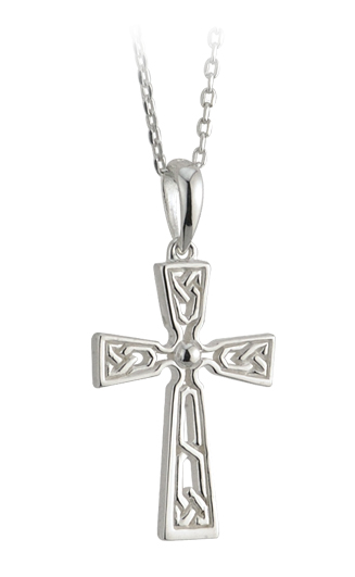 Celtic Pendant - Sterling Silver Filigree Cross Pendant with Chain