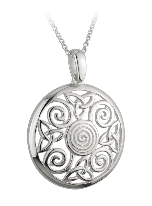 Celtic Pendant - Sterling Silver Trinity Knot Celtic Swirl Pendant with Chain