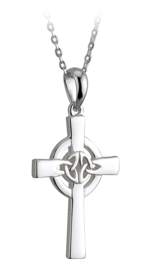 Celtic Pendant - Sterling Silver Trinity Knot Celtic Cross Pendant with Chain