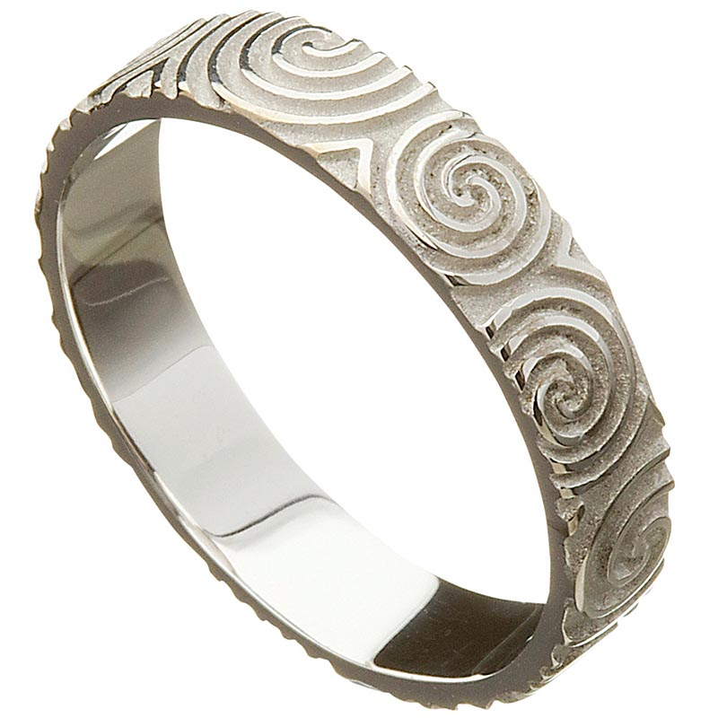 Irish Wedding Ring   Celtic Spirals Newgrange Mens Wedding Band