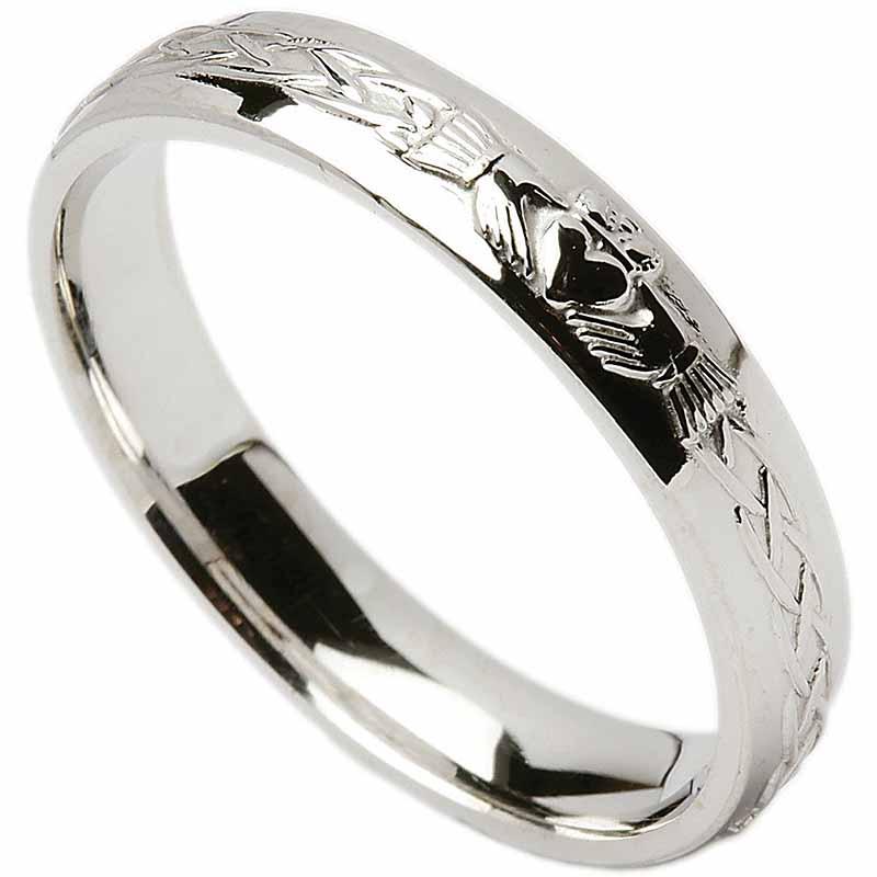irish wedding ring celtic knot claddagh ladies wedding band at tjhl042. Black Bedroom Furniture Sets. Home Design Ideas