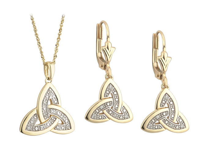 Celtic Jewelry Set Trinity Knot Earrings And Pendant 14k Gold Diamond