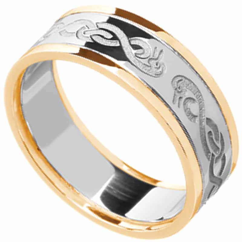Celtic Ring - Ladies White Gold with Yellow Gold Trim Celtic Wedding Ring