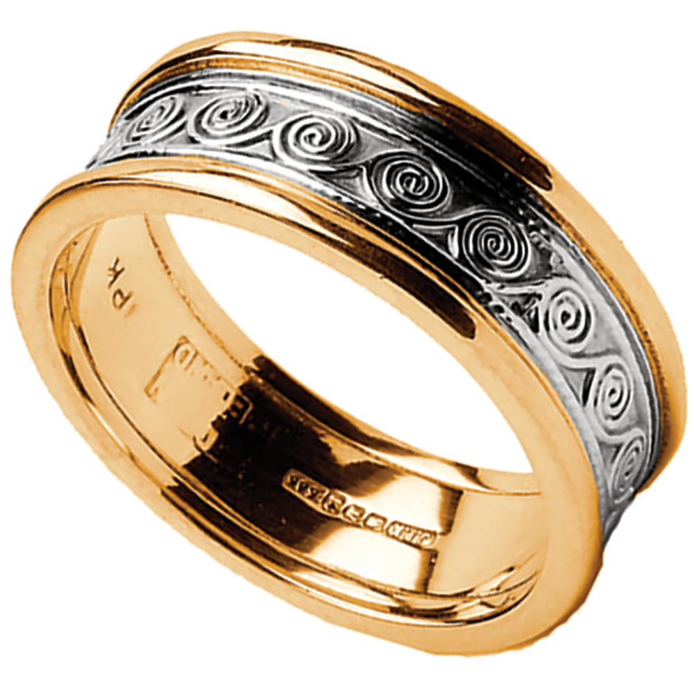Celtic Ring - Ladies White Gold with Yellow Gold Trim Celtic Spirals Wedding Ring
