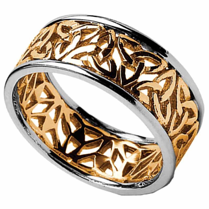trinity knot ring mens yellow gold with white gold trim trinity filigree irish wedding ring - Mens Celtic Wedding Rings