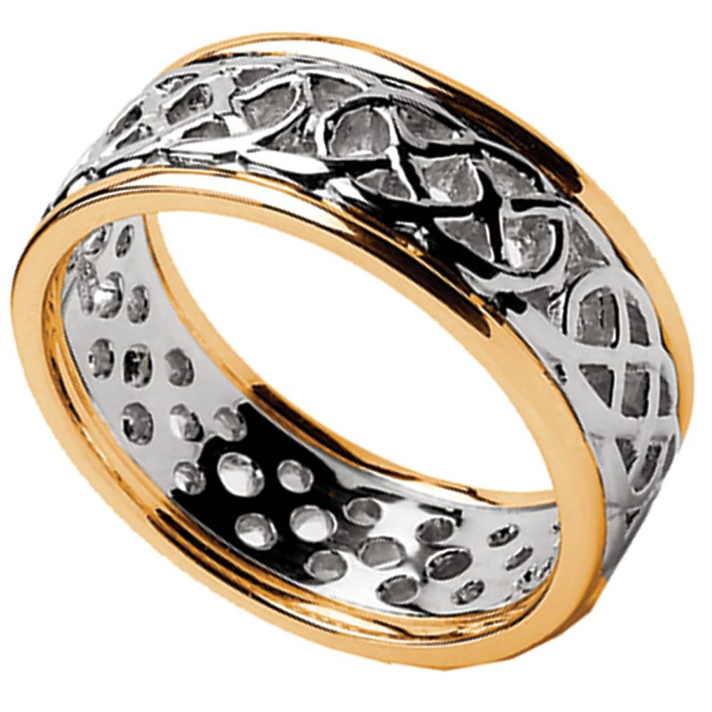 Celtic Ring - Men's White Gold with Yellow Gold Trim Pierced Celtic Wedding Ring