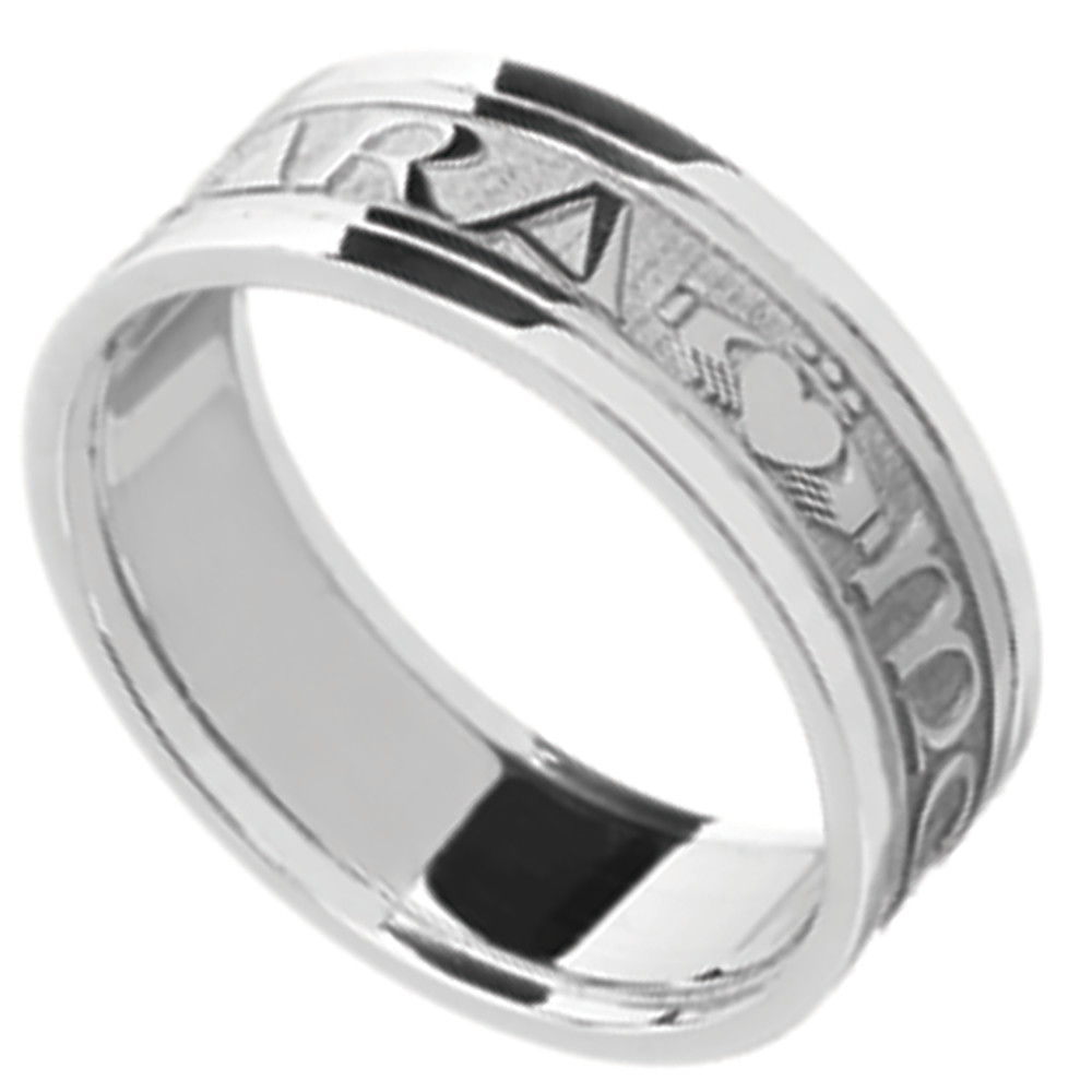Mo Anam Cara Ring - Men's White Gold Mo Anam Cara 'My Soul Mate' Irish Wedding Band