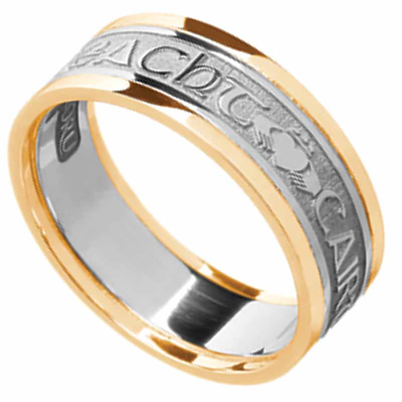 Irish Ring - Men's White Gold with Yellow Gold Trim - Gra Dilseacht Cairdeas 'Love, Loyalty, Friendship'  Irish Wedding Ring