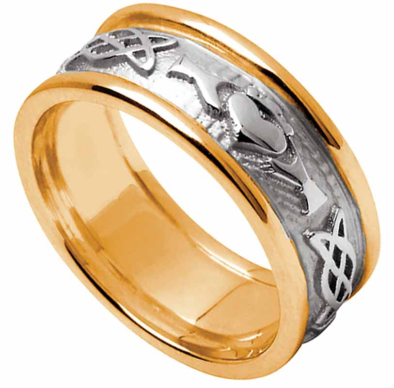 Claddagh Ring - Ladies White Gold with Yellow Gold Trim Claddagh Celtic Knot Wedding Ring