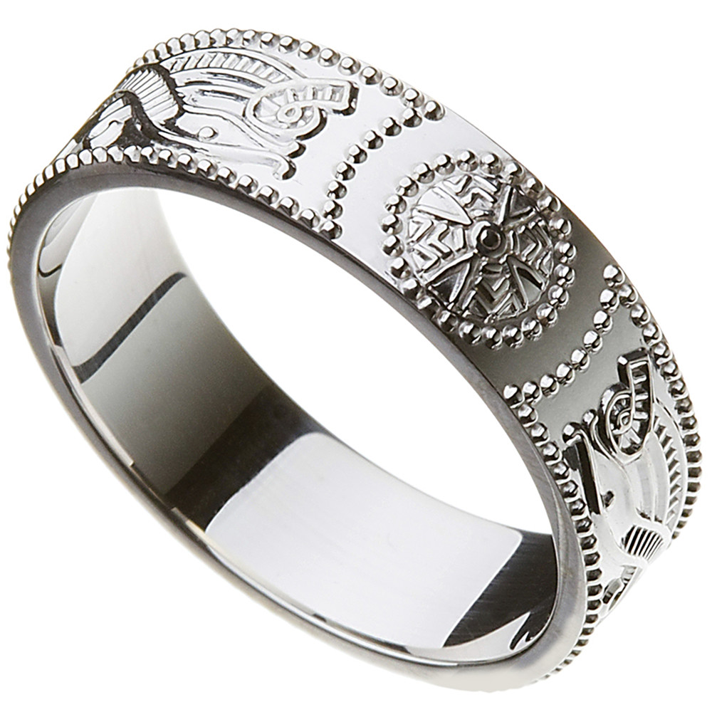 Celtic Ring - Men's Celtic Warrior Shield Wedding Ring
