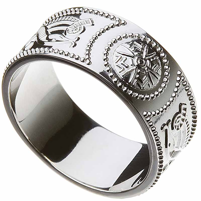 Celtic Ring - Men's Celtic Warrior Shield Wedding Ring - Extra Wide