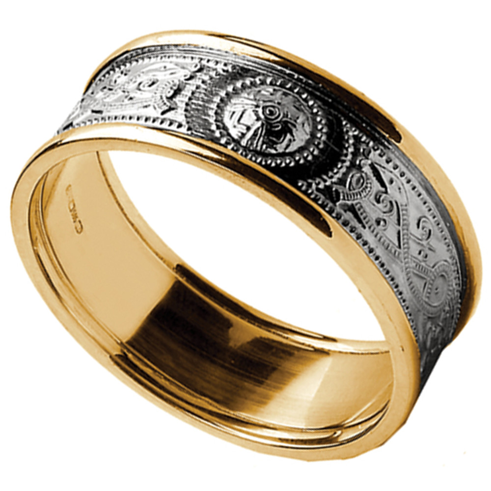 Celtic Ring - Ladies White Gold with Yellow Gold Trim Warrior Shield Wedding Band