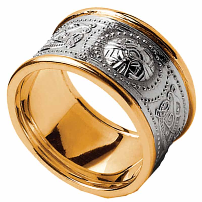Celtic Ring - Men's White Gold with Yellow Gold Trim Warrior Shield Wedding Band