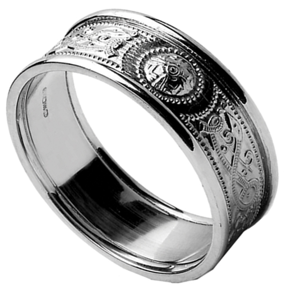 Celtic Ring - Ladies White Gold Warrior Shield Wedding Band