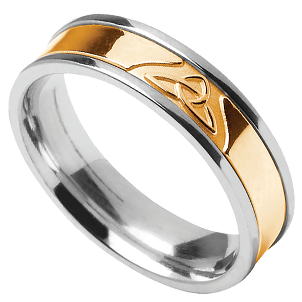 Trinity Knot Ring - Ladies Sterling Silver with 10k Yellow Gold Trinity Knot Irish Wedding Band