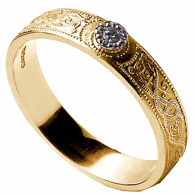 Celtic Ring - Ladies Diamond Warrior Shield Wedding Ring