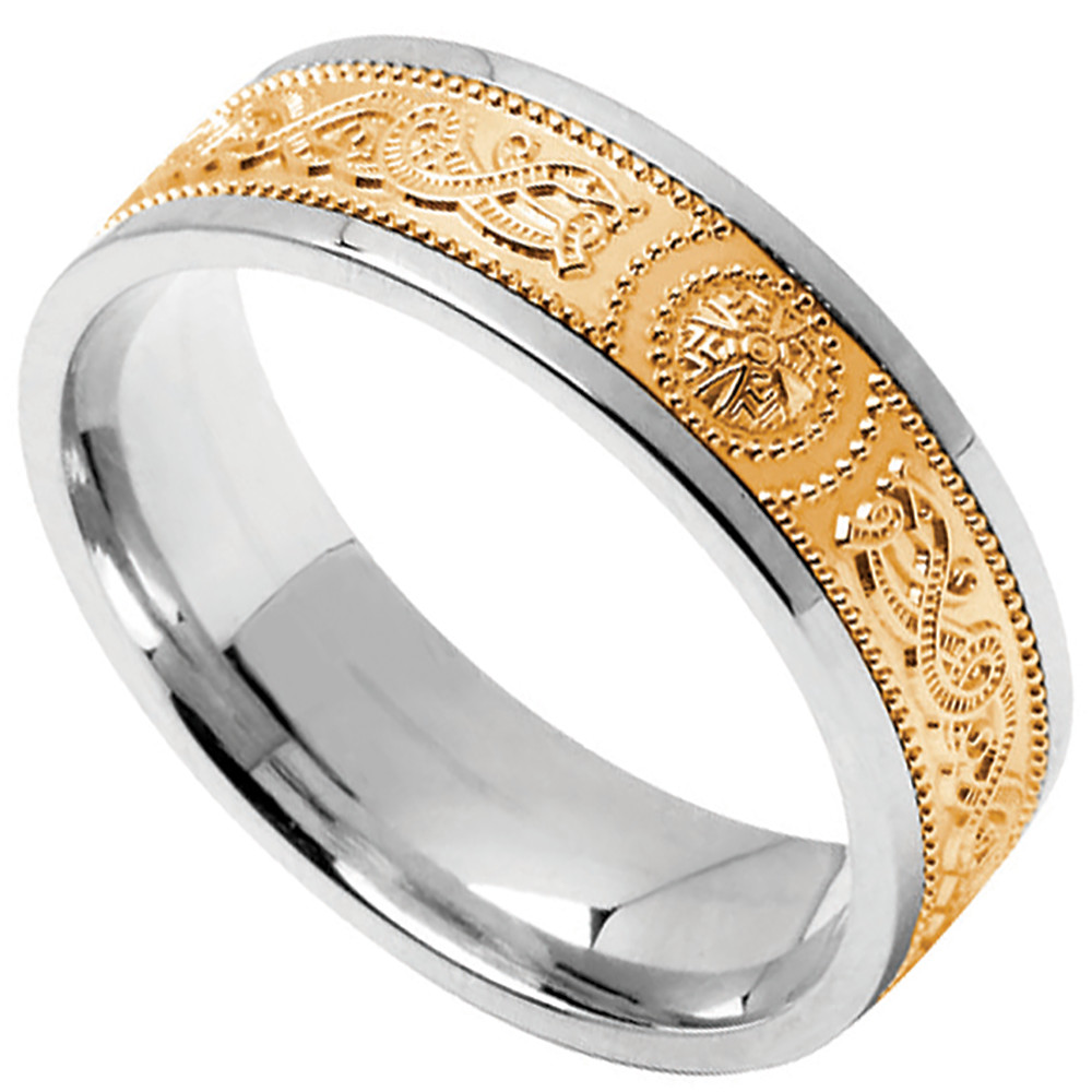 Celtic Ring - Ladies Sterling Silver with 10k Yellow Gold Wide Celtic Warrior Shield Irish Wedding Band