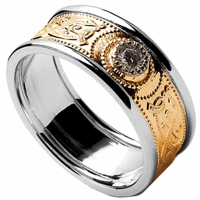 Celtic Ring - Ladies Gold Diamond Warrior Shield Wedding Ring