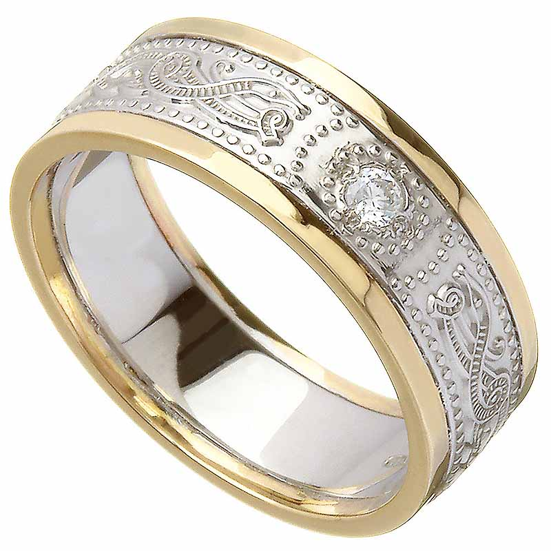 Celtic Ring - Ladies White Gold with Yellow Gold Trim and Diamond Warrior Shield Wedding Ring