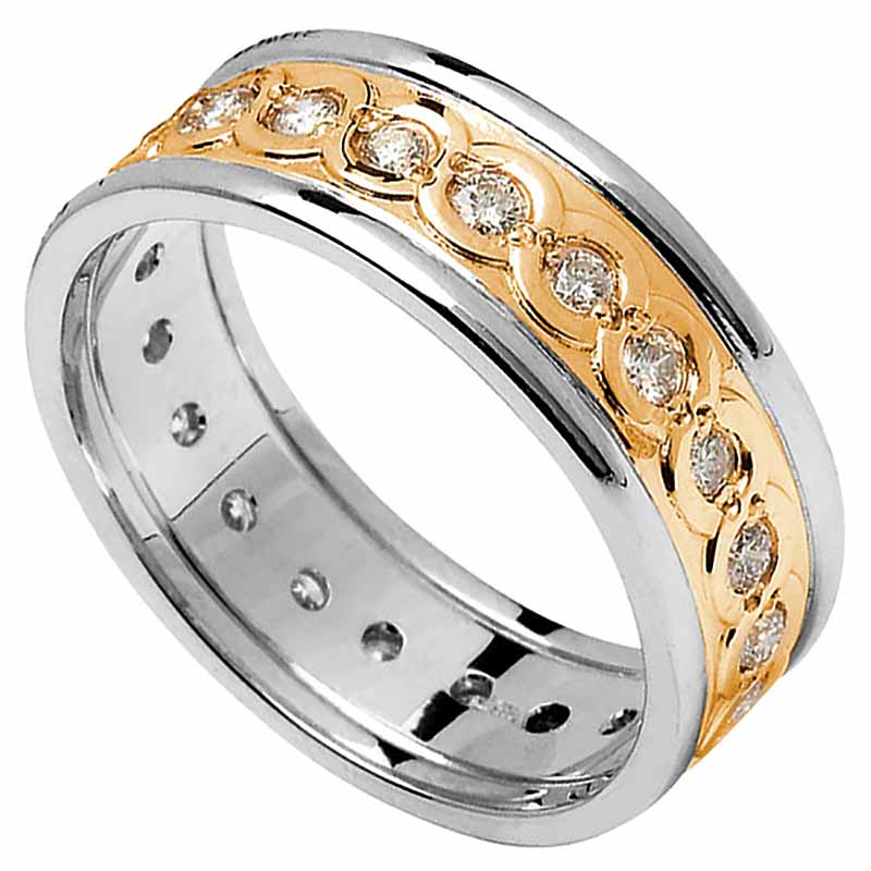 Celtic Ring - Ladies Yellow Gold with White Gold Trim and Diamond Set Celtic Wedding Ring