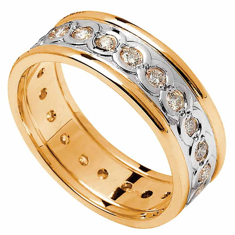 Celtic Ring - Ladies White Gold with Yellow Gold Trim and Diamond Set Celtic Wedding Ring