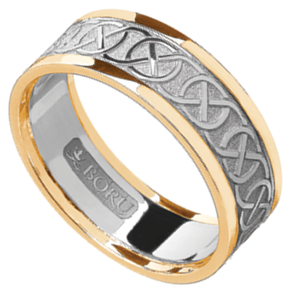 Celtic Ring - Men's White Gold with Yellow Gold Trim Celtic Knotwork Wedding Ring