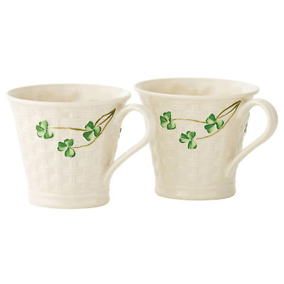Belleek Shamrock Basketweave Mugs (set of 2)