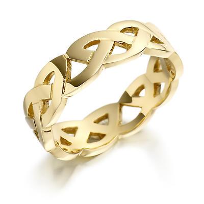 Irish Wedding Ring - Ladies Gold Celtic Trinity Knot Wedding Band