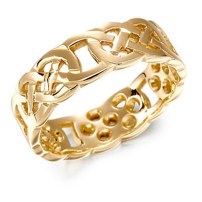 Irish Wedding Ring - Mens Gold Celtic Knot Wedding Band