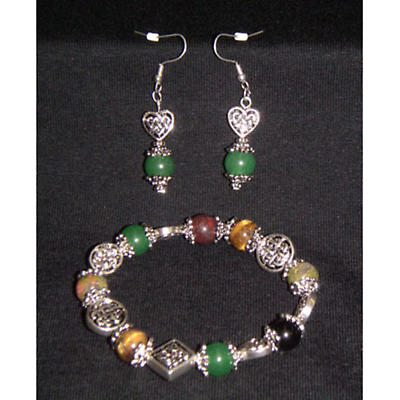 Celtic Jewelry Set - Semi Precious Celtic Knot Stretch Bracelet and Earring Set